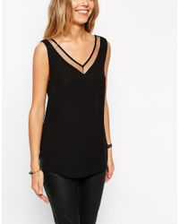 ASOS - Black Tall V Front And V Back Vest With Mesh Insert - Lyst