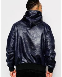 ASOS - Blue Hooded Jacket With Zip Fastening In Navy for Men - Lyst