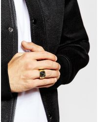 ASOS - Metallic Gold Plated Sterling Silver Ring for Men - Lyst