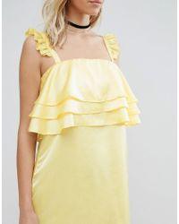 Fashion Union - Yellow Dress With Frills - Lyst