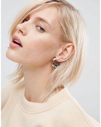 ASOS - Metallic Double Disc Stud Front & Back Earrings - Lyst