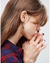ASOS - Metallic Pack Of 2 Cross Charm Hoop Earrings - Lyst