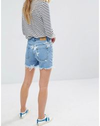Daisy Street - Blue Denim Shorts With Stars And Distressing - Lyst