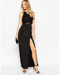 ASOS | Black Column Maxi Dress With Embellished Crop Top | Lyst