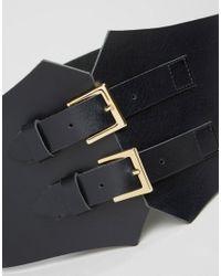 Retro Luxe London - Black Wide Double Buckle Leather Corset Belt - Lyst