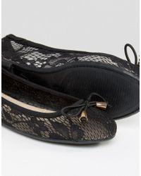 ASOS - Black Lisa Lace Ballet Flats - Lyst