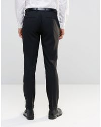 Only & Sons - Black Skinny Smart Pants With Stretch And Turn Up for Men - Lyst