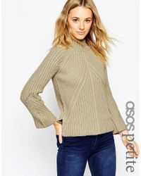 ASOS | Black Petite Chunky Jumper With High Neck And Moving Rib | Lyst