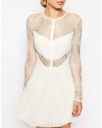 ASOS - Yellow Lace And Pleat Detail Mini Dress - Lyst