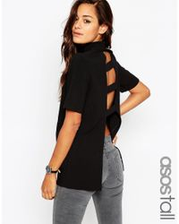 ASOS - Black Tall High Neck Tunic With Open Back - Lyst