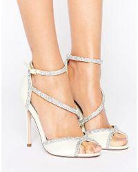 ASOS - Multicolor Hibiscus Bridal Embellished Heeled Sandals - Lyst