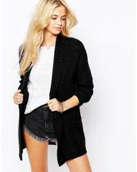Fashion Union | Black Slouchy Rib Boyfriend Cardigan | Lyst