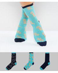 Chelsea Peers - Blue Christmas Gingerbread Sock Multipack - Lyst
