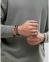 Icon Brand - Silverball Anchor Bracelet In Black/rose Gold for Men - Lyst