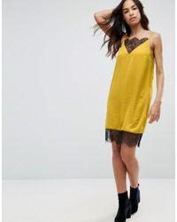 ASOS - Yellow Lace Mini Insert Slip Dress - Lyst