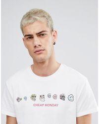 Cheap Monday - White Colourful Skull Logo T-shirt for Men - Lyst