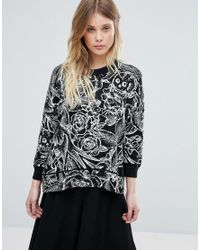 French Connection - Black Tattoo Jumble Print Wool Mix Knit Jumper - Lyst