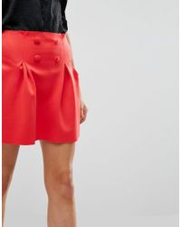 ASOS - Red Mini Scuba Lantern Skirt With Button Detail - Lyst