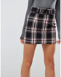 ASOS - Multicolor Check Mini Skirt With Belt - Lyst