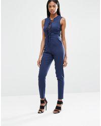 Lavish Alice - Blue Plunge Tie Strap & Side Detail Jumpsuit - Lyst