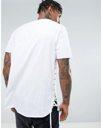 ASOS - White Longline T-shirt With Curved Hem And Eyelet Side Seam for Men - Lyst