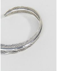 Serge Denimes - Metallic Feather Bangle In Solid Silver for Men - Lyst