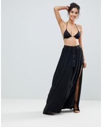 86cf388718 Surf Gypsy Lace Up Beach Maxi Skirt in Black - Lyst