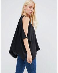 ASOS - Black Kimono Tee With Cold Shoulder - Lyst