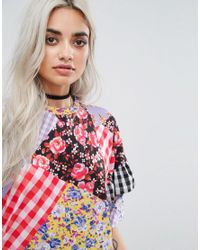 Jaded London - Multicolor Oversized Mix And Match Print Tshirt Dress - Lyst