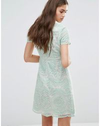 Darling - Green Short Sleeve Lace Shift Dress - Lyst