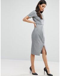 ASOS - Blue Double Layer Wiggle Dress In Stripe - Lyst