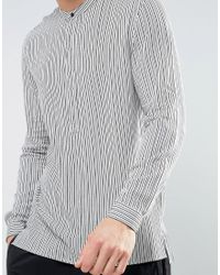 Mango - Man Regular Fit Striped Shirt In Gray for Men - Lyst
