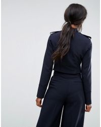 ASOS - Blue Tailored Cropped Military Style Blazer - Lyst