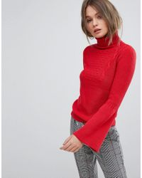 b9b55db2cbd2 Oasis Fluted Sleeve Roll Neck Sweater in Red - Lyst