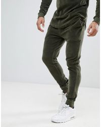 ASOS - Natural Tracksuit Muscle Hoodie/ Super Skinny Joggers In Khaki Velour With Curved Hem And Contrast Side Stripe for Men - Lyst