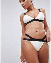 Missguided - White Double Strap Mono Bikini Bottom - Lyst
