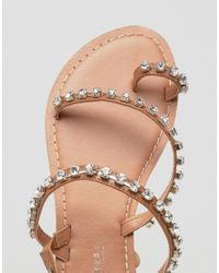 ASOS - Multicolor Faithfully Embellished Leather Flat Sandals - Lyst