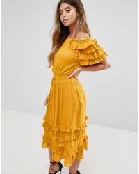 d001dcfa8c80 Boohoo Ruffle Midi Dress in Yellow - Lyst