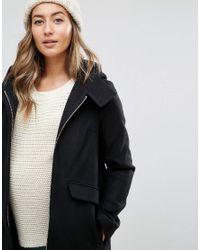 ASOS - Black Hooded Slim Coat With Zip Front - Lyst
