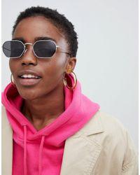Monki - Hexagon Sunglasses In Black - Lyst