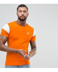 c3a1149bc PUMA Panel T-shirt In Muscle Fit In Orange Exclusive At Asos in ...