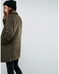 ASOS | Green Oversized Coat With Buckle Funnel Neck | Lyst