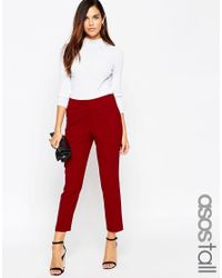 ASOS | Red Tall Ankle Grazer Cigarette Trouser In Crepe | Lyst