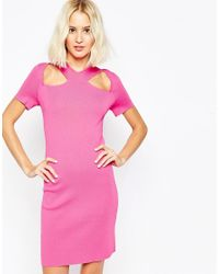ASOS | Pink Dress With Cut Out Detail And Zip Back In Structured Knit | Lyst
