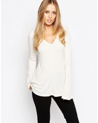 ASOS | Natural Clean Longline Top With V Neck And Long Sleeves | Lyst
