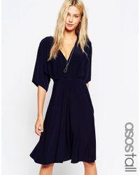 ASOS | Blue Tall Kimono Plunge Midi Dress | Lyst
