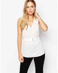 ASOS | White Sleeveless Plunge Neck Top | Lyst