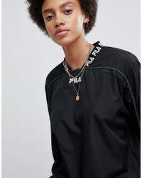Fila - Black Tracktop With Logo Cuff And Collar - Lyst