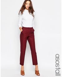 ASOS | Purple Tall Textured Cigarette Trouser | Lyst