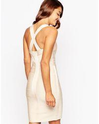 ASOS - Natural Sculpt Premium Bandage Premium Bandage Curved Panel Midi Bodycon Dress - Lyst